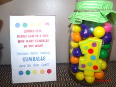 First Birthday Circus Theme -  Guess the Gumballs Game