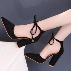 138dcf20da46 LIN KING Sexy Flock Thick Sole Women Pumps Lace Up Knot High Heel Shoes  Square Heel