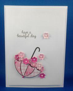 61 Ideas Birthday Card Craft Simple For 2019 Pretty Cards, Cute Cards, Diy Cards, Umbrella Cards, Rain Umbrella, Tarjetas Diy, Bridal Shower Cards, Get Well Cards, Flower Cards