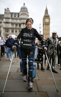 "She may be paralyzed from the chest down, but a U.K. woman wearing a ""robotic"" suit has completed the London Marathon 16 days later.    I love bioengineering. This woman, and the engineers who worked on the suit, are heroes!"