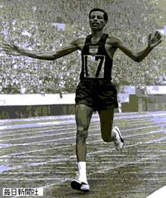 Ethiopian marathon runner Abebe Bikila, who had run bare-foot in 1960 Rome Olympic; in 1964 Tokyo Olympic, he wore Puma shoes. After the marathon, he said he could easily run another 10 kilometers.