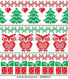 New Year's Christmas pattern pixel, card - scandynavian Norwegian sweater style Knitting Charts, Knitting Socks, Knitting Patterns, Christmas Knitting, Christmas Sweaters, Knit Stockings, Fair Isle Pattern, Fair Isle Knitting, Christmas And New Year
