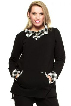 Look at this L&L Black & White Plaid Hi-Low Top - Women & Plus on today! White Plaid, Black And White, Classic Style, That Look, Plus Size, Sweatshirts, Sweaters, Cotton, Fashion Design