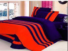 Xmas 16'' 7 Pc Stripped Twin Orange & Navy Blue Duvet / Quilt Cover Set