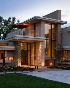 Modern House Facades, Modern Exterior House Designs, Dream House Exterior, Exterior Design, Modern Design, Best Modern House Design, Architecture Design, Modern Architecture House, House Front Design