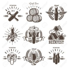 Définir des emblèmes vintage fête de la bière, des étiquettes, logos, badges et éléments conçus. Style monochrome. Isolé sur fond blanc