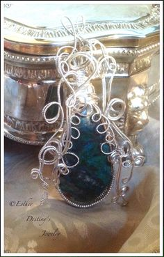 Filigree Sterling Silver Wire Wrapped Chrysocolla by Esther Destiny's Jewelry