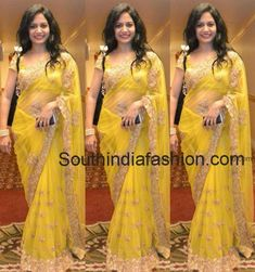 Singer Sunitha in Yellow Saree – Playback singer Sunitha in yellow net saree with gold embellishments teamed up with yellow short sleeves blouse. Net Saree Blouse, Saree Blouse Patterns, Desiner Sarees, Saree Poses, Bridal Gown Styles, Wedding Couple Photos, Modern Saree, Yellow Saree, Indian Beauty Saree