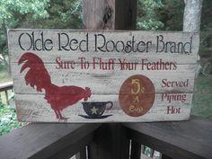 Primitive wood Rooster sign Kitchen rooster sign