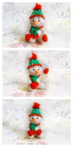 Amigurumi Small Snowman Free Pattern – Amigurumi Free Patterns And Tutorials Crochet Birds, Crochet Buttons, Crochet Toys, Free Crochet, Crochet Dolls Free Patterns, Christmas Knitting Patterns, Christmas Deco, Christmas Crafts, Xmas