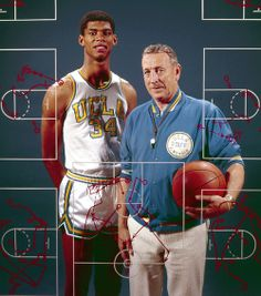 UCLA freshman Lew Alcindor (Kareem Abdul-Jabbar) poses with coach John Wooden on Nov. 8, 1965.  The two are considered the greatest college basketball player and coach of all time.  (Neil Leifer/SI)  GALLERY: The 75 Greatest College Basketball Players