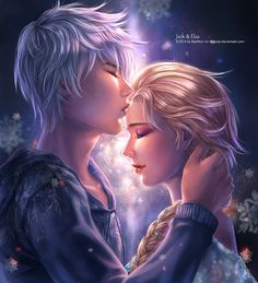 I love this art style! Jelsa by RedPear.deviantart.com Jack Frost and Elsa, Frozen