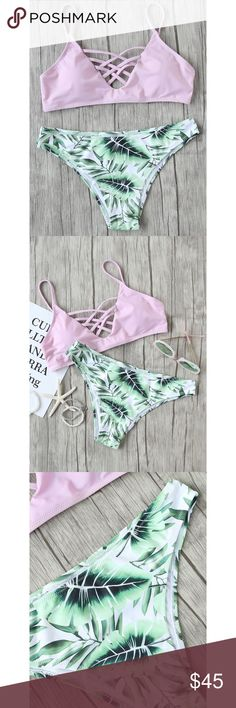 ✨Leaf Print Criss Cross Mix & Match Bikini Set✨ ✨Size Available:L Bottoms Length(Cm):L:23cm Bust(Cm):L:80-90cm Waist Size(Cm):L:80-90cm Material:Polyester Chest Pad:YES Pattern Type:Print Type:Bikinis Top:Push Up Color:Green, Pink Style:Casual, Cute, Vacation✨ Swim Bikinis