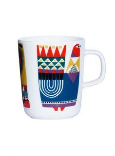 Marimekko Kukkuluuruu Multicolor Mug Cultural Cup. Smooth and sturdy, the creamy white porcelain mug designed by Sami Ruotsalainen serves as an ideal backdrop for designer Sanna Annukka's whimsy folkloric motif. Marimekko, Cath Kidston Mugs, Mug Dinner, Empire, Scandinavia Design, Shops, Interiors Online, Ceramic Tableware, Cool Mugs