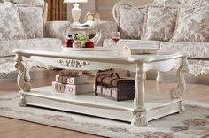 European country style casual long coffee table - MelodyHome.com