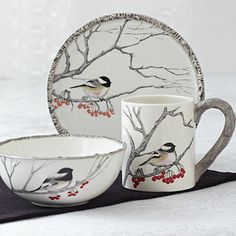 Winter Chickadee Tableware This wintery chickadee bird is perched upon a snowy branch on this white ceramic place setting. Setting includes mug, plate and bowl, each sold individually to add a holiday feel to your existing tableware.