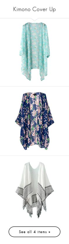 """""""Kimono Cover Up"""" by purpleclover-1 ❤ liked on Polyvore featuring tops, blouses, jackets, cardigans, shirts, sweaters, floral kimono, kimono top, floral print top and floral kimono top"""