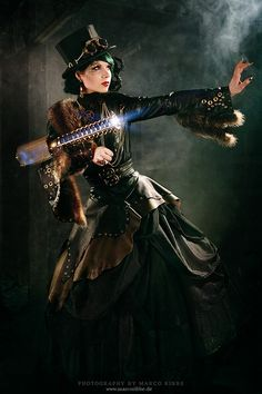 "Steampunk Starshooterby *MarcoRibbe @deviantart  quote: ""i custom created the steampunk dress and accessoires for the shoot""  Model: Seraphine Strange"""