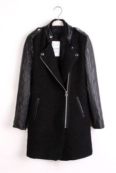 478b60591e32a Black Leather Sleeves Wool Outerwear Leather Sleeves, Quilted Leather,  Stitching Leather, Quilted Jacket