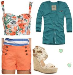 Outfit inspired by One Direction's What Makes You Beautiful video: Orange shorts with buttons, floral crop top, button-down cardigan, espadrille wedges One Direction Fashion, Summer Outfits, Cute Outfits, What Makes You Beautiful, Floral Crop Tops, College Fashion, Spring Summer Fashion, Beautiful Outfits, What To Wear