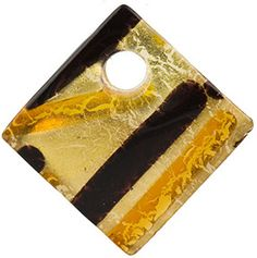 Curved Diagonal Murano Glass Pendant, 30mm, Topaz & Black over Gold Foil