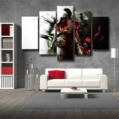 Assassin's Creed Brotherhood Ezio Hidden Blade Posture 5pc Prints Canvas  #Assassin'sCreed #Brotherhood #Ezio #Hidden #Blade #Posture #5pc #Prints #Canvas