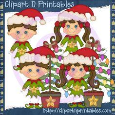 Stick Christmas Elves Brown- #Clipart #ResellableClipart #ResellerClipart #Christmas #Elves #Elf #Star #ChristmasTree #Ornaments