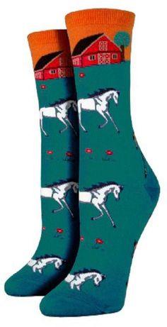 Pink Penguin Green Horse Socks