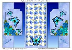 All blues on Craftsuprint designed by Gail Collins - A pretty double fold back card of blue flowers and butterflies,very quick and easy to make up. - Now available for download!