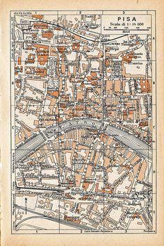 Vintage map of Pisa