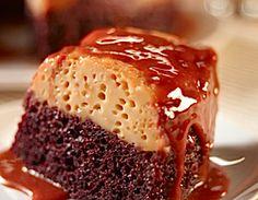 Pastel imposible o chocoflan, de repente se puso de moda en Mexico. La parte de abajo es un pan de chocolate y la superior es flan con caramelo. Pinchar la foto y se verá la receta.