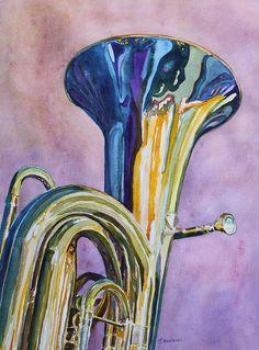 Tuba Painting - Umpa Rainbow by Jenny Armitage - Musical Instruments Drawing, Jazz Art, Rainbow Painting, Africa Art, Art Plastique, Art Sketchbook, Creative Art, New Art, Watercolor Art