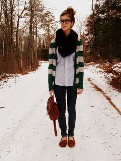 Striped cardi and moccasins