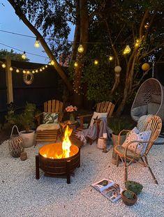 Wood Fire Pit, Fire Pit Area, Fire Pit Gravel Area, Rim Fire Pit, Fire Pit Table, Backyard Patio Designs, Deck Patio, Backyard Landscaping, Fire Pit Landscaping Ideas