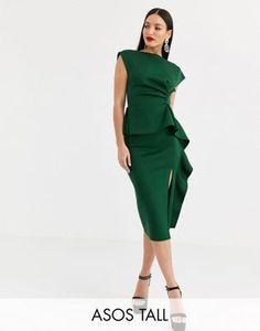 ASOS DESIGN Tall peplum pencil midi dress with tuck detail | ASOS