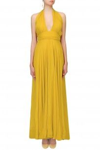 Mustard Yellow Criss Cross Neck Retro Gown #perniaspopupshop #swateesingh #designer #clothing #formal #mustard #criss-cross #partywear #classy #shopnow #happyshopping