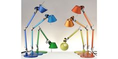 Artemide Tolomeo Micro table lamp in color. The Tolomeo Micro lamp was designed by Michele De Lucchi and Giancarlo Fassina for Artemide in Italy. Italian Lighting, Modern Lighting, Lighting Design, Lighting Ideas, Desk Light, Light Table, Led, Haute Tension, Architecture