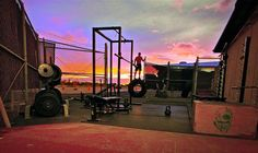 Where ever this outdoor gym is, it has beautiful mornings