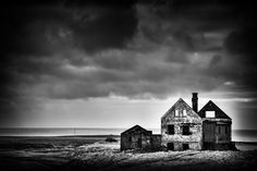 Abandoned, decayed building in Iceland (Snaefellsnes) black and white photo with stark contrast. Available as poster, greeting card, framed fine art print, metal, acrylic or canvas print. (c) Matthias Hauser hauserfoto.com - Art for your Home Decor and Interior Design needs.