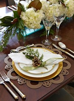 Winter decorations look nice on the tabletop | Christmas Entertaining Ideas | Holidays | Tablescapes | Dinnerware | China