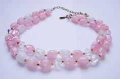 Mid Century Bead Necklace / Pink Lucite Beads / Aurora by JoysShop Antique Jewelry, Vintage Jewelry, Vintage Necklaces, Etsy Vintage, Vintage Antiques, Aurora Borealis, Beaded Bracelets, Jewelry Necklaces, Stone Necklace