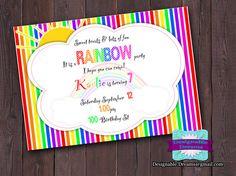 Rainbow Birthday Invitation Created By Designable Dreams  Cost: $7.50