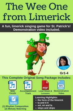 """Kids absolutely have a blast with this fun """"strike a pose"""" singing game for St. Patrick's Day! A great way to introduce the limerick. The SMART Notebook file reinforces ta, ti-ti and sol, mi, la. Package includes two recordings, a PDF with lead sheet and lesson ideas, a SMART Notebook file and a demonstration video. #StPatricksSong #SingingGame #Limerick #Rhythm #Melody #MusicTheory #ElementaryClassroomMusic #LisasClassroomSongs Teacher Tools, Teacher Pay Teachers, Science Resources, Teacher Resources, St Patricks Day Songs, Classroom Activities, Classroom Tools, Holiday Activities, Elementary Music"""