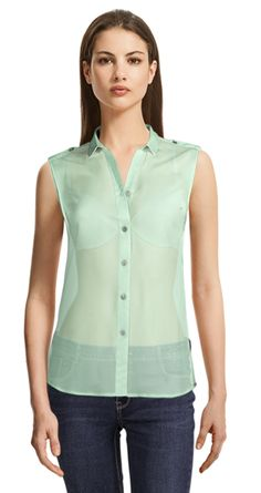 Mint Green loose fitted blouse with shoulder straps Collar Styles, Suits For Women, Shoulder Straps, Put On, Sleeveless Blouse, Hemline, Womens Fashion, Fashion Trends, Tunic Tops