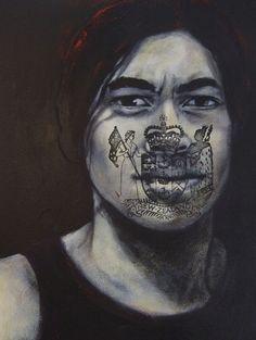 I AM - Portrait installation - Delicia Sampero New Zealand Art, Nz Art, Maori Art, Pencil Portrait, Art Inspo, Art Reference, Halloween Face Makeup, Illustration, Pictures