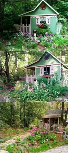 Fairytale Shed - Top 80 Gorgeously Comfortable She Sheds and Backyard Tiny Houses Garden Gazebo, Backyard Sheds, Outdoor Sheds, Backyard Patio, Backyard Landscaping, Garden Sheds, Backyard Studio, Shed Building Plans, Diy Shed Plans