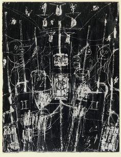 Jean Dubuffet (1901-1985) was een Frans kunstenaar. Hij verwerkte ook asfalt, plastic en gebroken glas in zijn schilderijen. Jean Dubuffet had een grote belangstelling voor tekeningen van kinderen, geestelijk minder begaafden en gedetineerden. Hiervan legde hij een grote verzameling aan. Hij noemde deze kunst Art Brut. Later werd het werk van Dubuffet en dat van zijn volgers aangeduid met deze term.(Métro). 1949