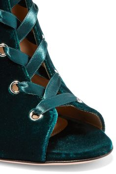 Gianvito Rossi - Lace-up Velvet Boots - Emerald