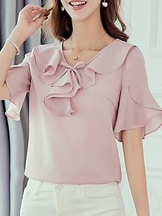 Round Neck Patchwork Plain Blouses , Buy Affordable And Fashionable Women's clothing Online. Buy Shoes, Bags, Dresses Etc. Cheap Blouses, Blouses For Women, Women's Blouses, Blouse Styles, Blouse Designs, Bell Sleeve Blouse, Short Sleeve Blouse, Lace Sleeves, Floral Blouse