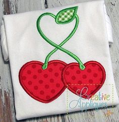 Cherry Hearts Applique - 4 Sizes! | What's New | Machine Embroidery Designs | SWAKembroidery.com Creative Appliques